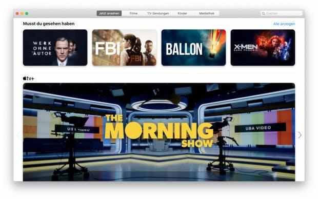 Kein iTunes mehr in macOS Catalina: Eure Filme finden sich ab sofort in der neuen TV-App. (Screenshot: macOS / t3n)