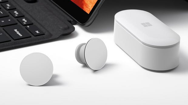 Surface Earbuds: Microsofts True-Wireless-Ohrstöpsel können euer Gesagtes transkribieren