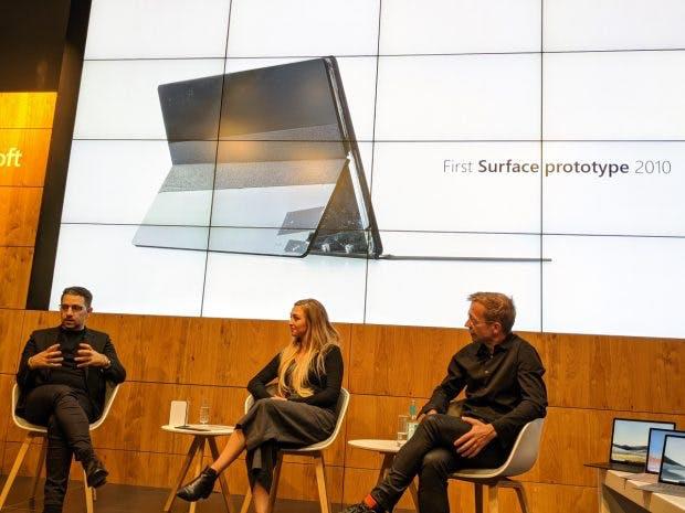 Microsoft-Surface-Team in Berlin: Panos Panay, Kait Schoeck und Ralf Groene. (Foto: t3n)