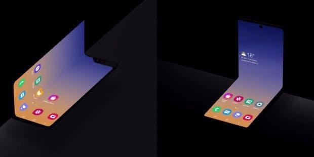 Links das DXesign des Galaxy Fold, rechts das neue Konzept in Klapphandy-Optik. (Bild: Samsung)