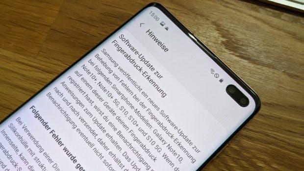 Das Update für den Fingerabdruckleser des Samsung Galaxy S10/Note 10 ist unterwegs. (Foto: t3n)