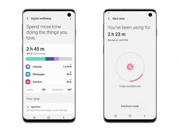 Samsung One UI 2 auf Android 10 mit Digital Wellbeing. (Bild. Samsung)