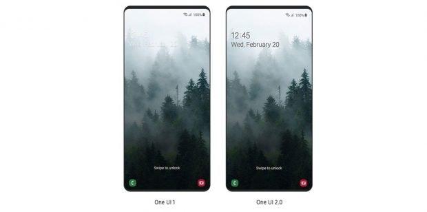 Android 10 Update für Samsung-Smartphones: One UI 2 Beta bringt intelligenten Darmode auch auf den Sperrbildschirm. (Bild: Samsung)