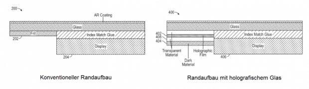 Links ein herkömmlicher Displayrand, rechts der neue Tesla-Vorschlag. (Screenshot: t3n.de)