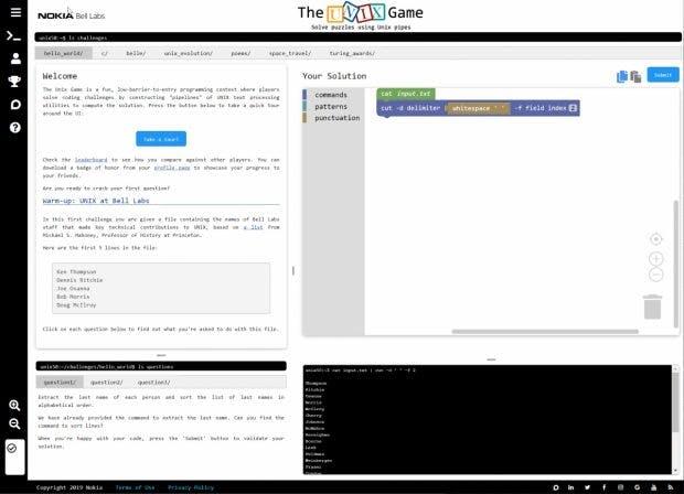 The Unix Game: Landing Page. (Screenshot: t3n.de)