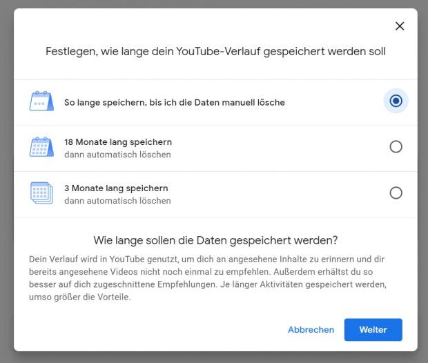 Youtube kann jetzt automatisiert den Verlauf löschen. (Screenshot: t3n.de)