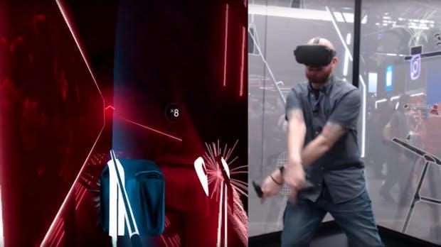 Geteilte Ansicht bei Beat Saber: Spieler mit VR-Brille auf einer Seite. VR-Ansicht auf der anderen.