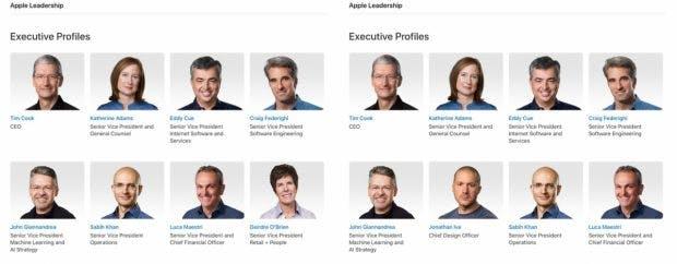 Apple-Manager-Profile – ohne und mit Chefdesigner Jony Ive