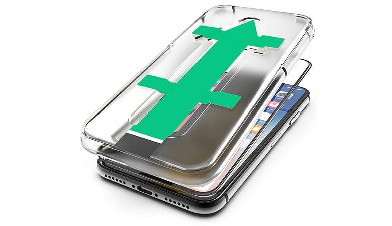 Ein mit 3D-Glas geschütztes iPhone auf weißem Hintergrund