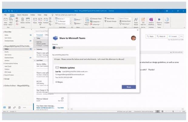Outlook-Schnittstelle zu Microsoft Teams.