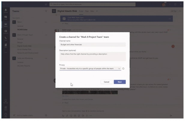 Private Channels in Microsoft Teams.