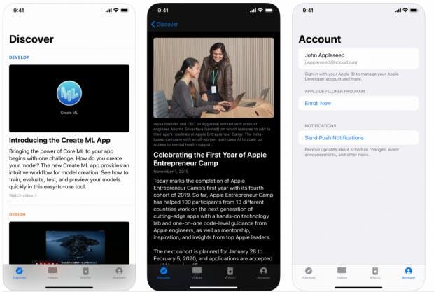 Screenshots der neuen Apple Developer App. (Bilder: Apple)