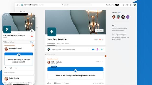 Yammer: Microsoft hübscht das Kollaborations-Tool im Fluent Design auf