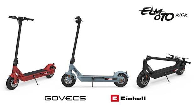 E-Tretroller Elmoto Kick läuft mit Einhell-Werkzeugakkus