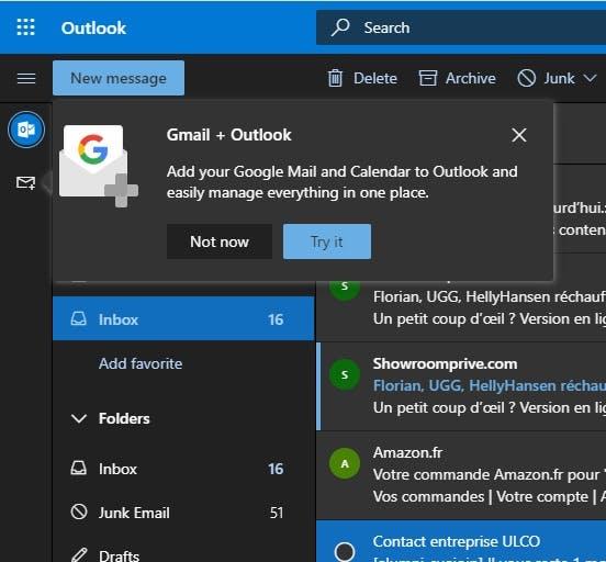 """Über das """"Gmail + Outlook""""-Pop-up in Outlook könnt ihr euer Google-Konto integrieren. (Screenshot: Florian B.)"""