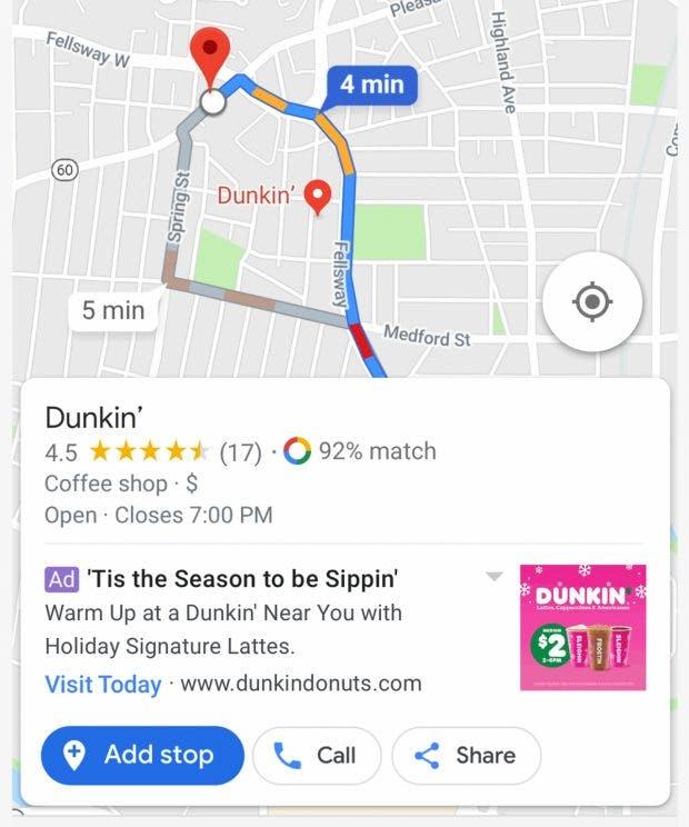 Werbung auf Google Maps: Mit einem Klick wird der Laden als Zwischenstopp in eure Route eingeplant. (Grafik: Google)