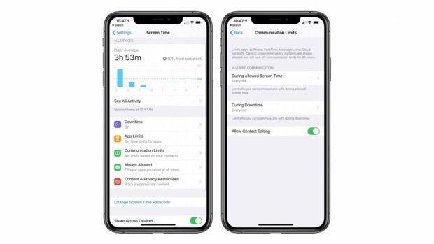 iOS 13.3 mit Kommunikations-Limits. (Bild. Macrumos)