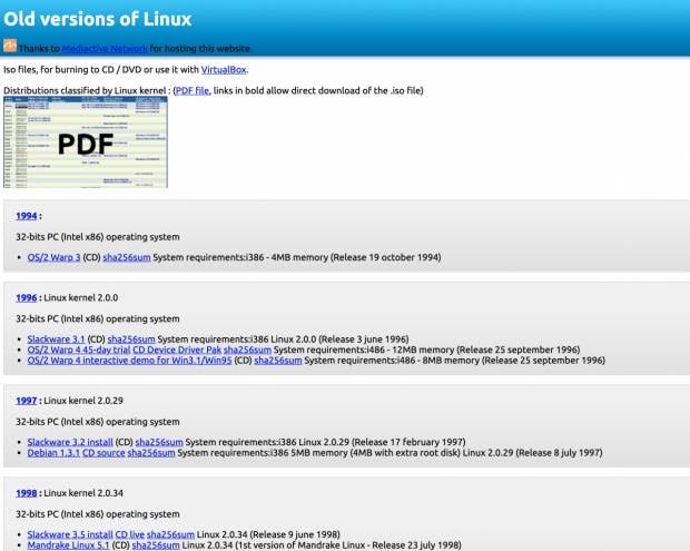 Old Linux. (Screenshot: t3n.de)