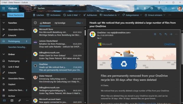 Outlook.com als PWA auf dem Desktop. (Screenshot: t3n)