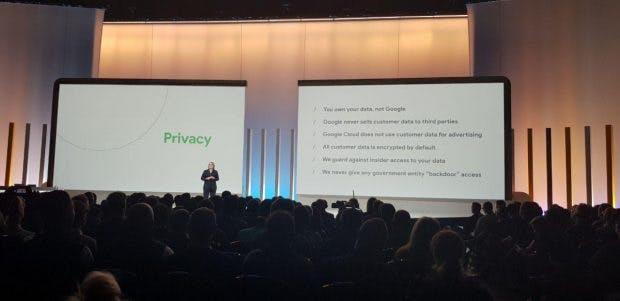 Suzanne Frey, VP of Development Google Cloud, bei der Google Cloud Next '10 Keynote