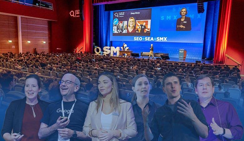 Eine Bühne vor aufgereihten Stühlen; im Vordergrund sechs beispielhaft ausgewählte Speaker und Experten