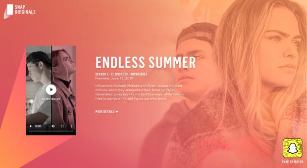Endless Summer ist einer der Vertikal-Video-Serien von Snaps Originals. (Screenshot: t3n.de)