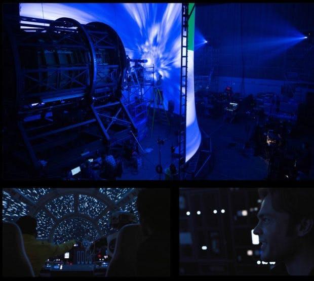 Oben: Die Laserprjektoren sind auf eine Rundleinwand gerichtet, vor der das Cockpit des Raumschiffs platziert ist. Unten links: Der Filmblick durch das Cockpit auf die Leinwand. Unten rechts: Natürliche Lichtreflektionen machen das Nachbearbeiten des Schauspielers unnötig. (Bilder: Lucasfilms ILM)