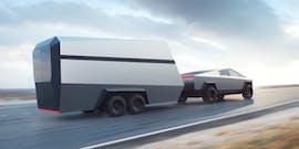 Tesla Cybertruck mit Anhänger. (Bild: Tesla)