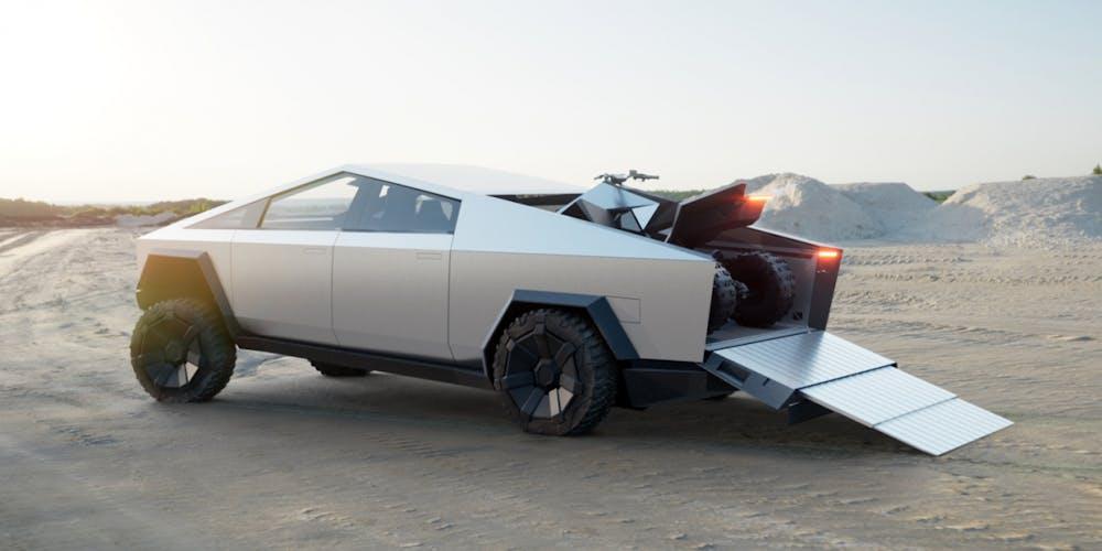Tesla Cybertruck mit Quad auf der Ladefläche. (Bild: Tesla)