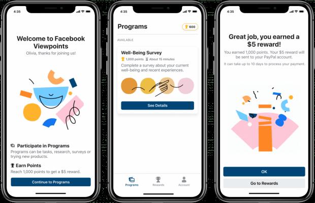 Drei Screenshots der Facebook-Viewpoints-App.