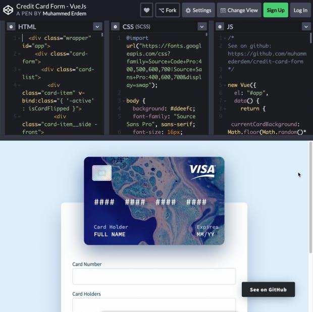 Credit Card Form - Vue.js. (Screenshot: t3n)