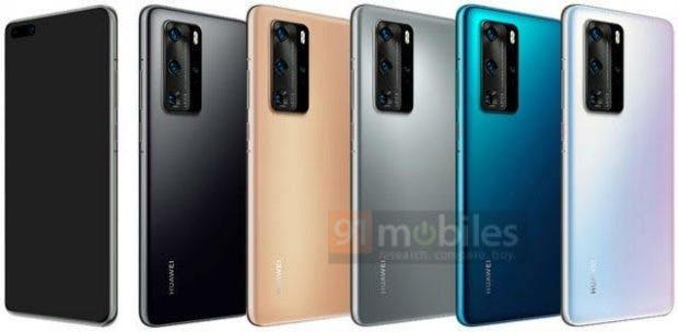In diesen Farbvarianten könnte das Huawei P40 (Pro) erscheinen. (Bild: 91Mobiles)