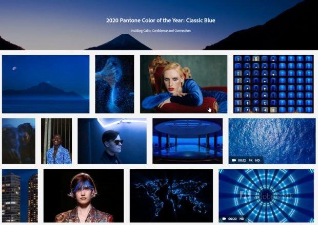 Adobe feiert Classic Blue. (Screenshot: t3n)