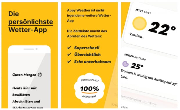 Appyweather will mit klarem Design und klaren Ansagen überzeugen. (Screenshot: t3n)