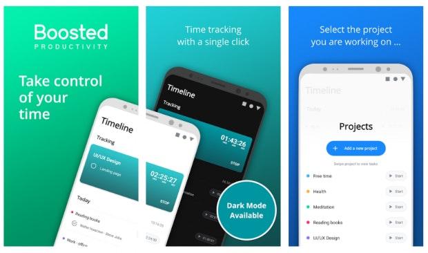 Boosted ist eine einfache Zeiterfassungs-App. (Screenshot: t3n)
