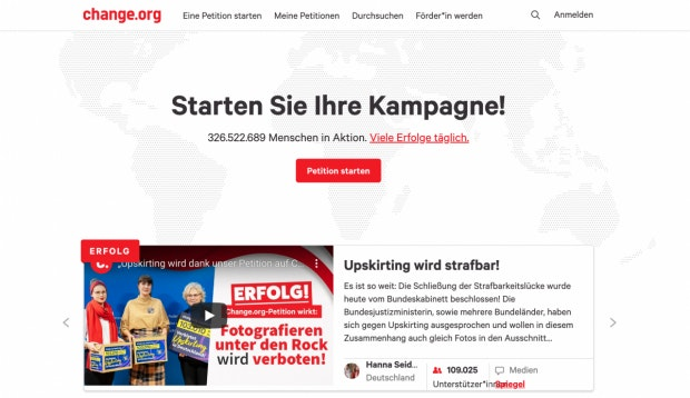 Change.org: Homepage. (Screenshot: t3n)