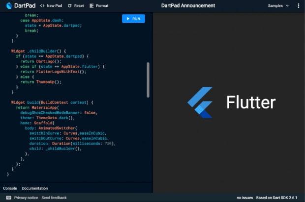 Der Online-Editor DartPad unterstützt jetzt auch das Ausführen von Flutter-Apps. (Screenshot: t3n)