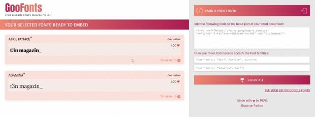 Die Embed-Codes liefert GooFonts gleich mit. (Screenshot: t3n)