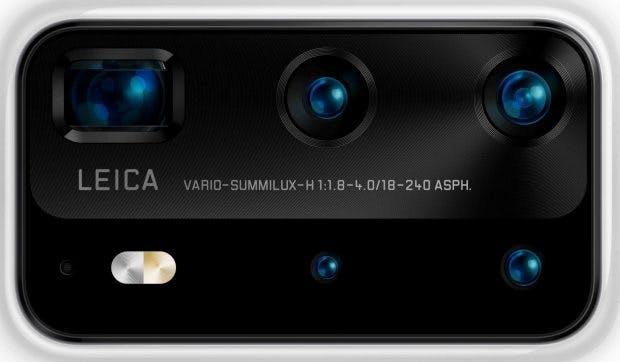 Das Kamera-Element des Huawei P40 Pro mit fünf Kamerasensoren. (Bild: Evleaks)