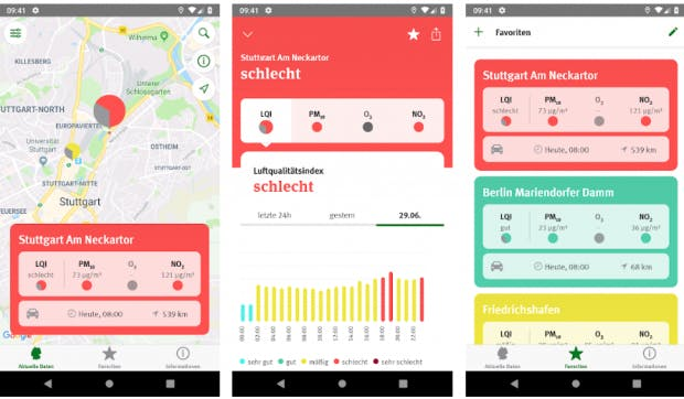 Die App des Umweltbundesamtes gehört ebenfalls zu den Preisträgern. (Screenshot: t3n)