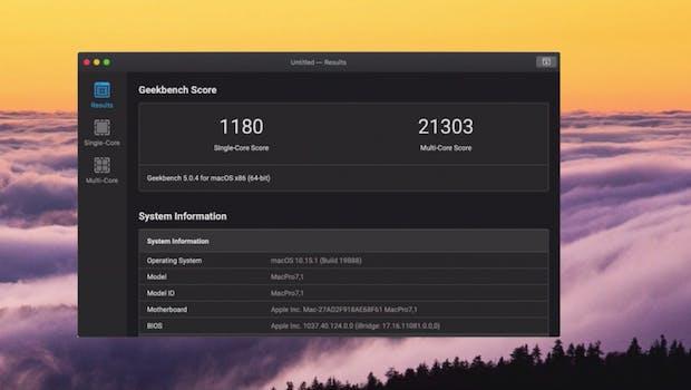 Mac Pro: Geekbench-Test von MKBHD. (Screenshot: MKBHD/t3n)