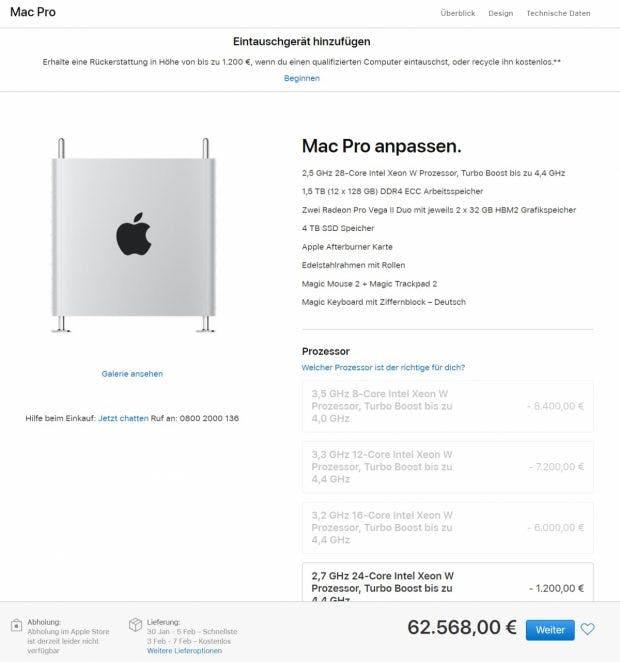 Mac Pro für 62.000 Euro. (Screenshot: t3n)