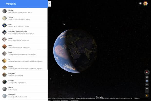 Google Maps im Weltall. Straßenkarten gibt es keine. (Screenshot: t3n)