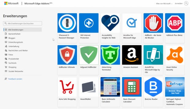 Edge Addons: Microsofts Chrome Webstore (Screenshot: t3n)