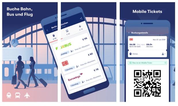 Buchungs-App über mehrere Mobilitäts-Plattformen. (Screenshot: t3n)