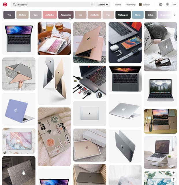 Pinterests Pinnwand-Prinzip ist überaus beliebt. (Screenshot: t3n)