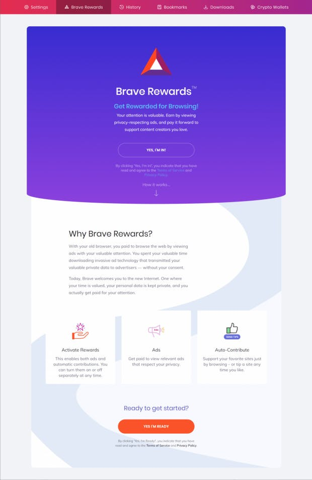 Schritt 2: Teilnahme an Brave Rewards bestätigen. (Screenshot: t3n)