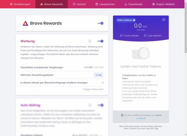 Angeschaute Werbung, nächste Auszahlung - alles in den Einstellungen. (Screenshot: t3n) (Screenshot: t3n)