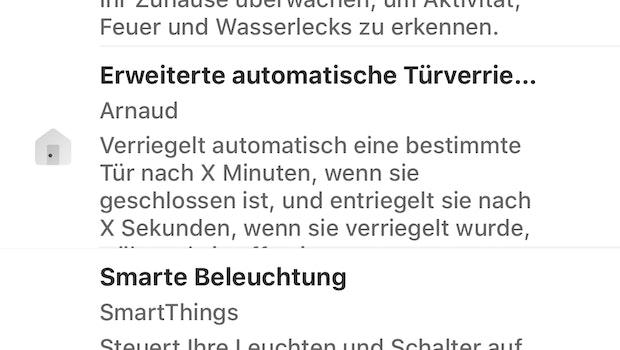 Anhand von Regeln können wir mit Smartthings im Test unser Zuhause automatisieren. Zur Inspiration  unterbreitet die App Vorschläge. (Screenshot: t3n)