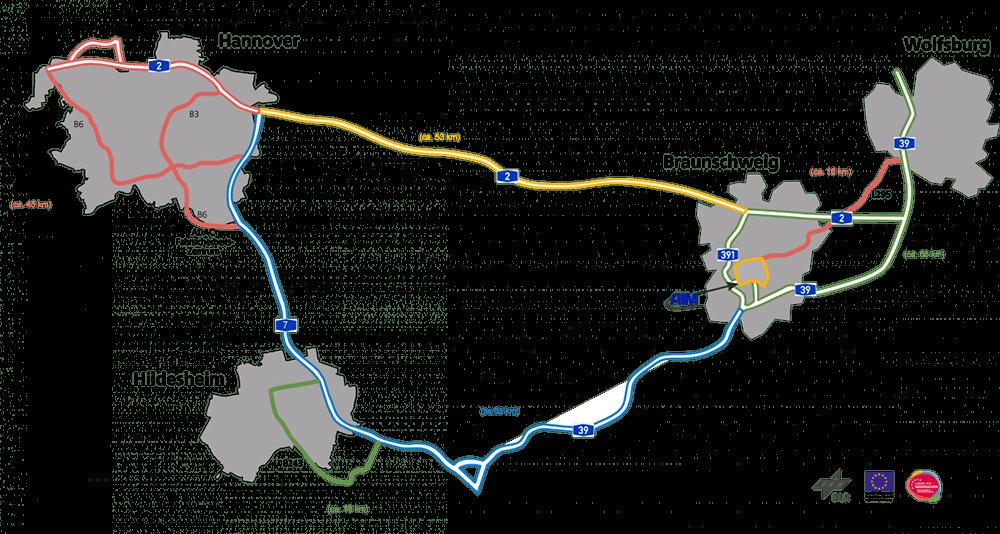 Das Testfeld Niedersachsen mit den dazugehörigen Modulen (Foto: DLR).